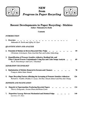 Progress in Paper Recycling