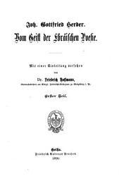 Vom Geist der ebr  ischen Poesie PDF
