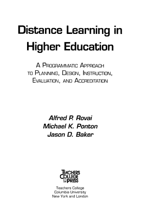 Distance Learning in Higher Education PDF