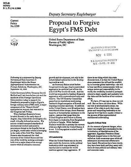 Proposal to Forgive Egypt s FMS Debt PDF