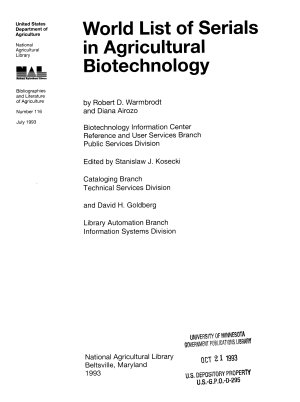World List of Serials in Agricultural Biotechnology