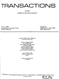 Transactions of the American Nuclear Society