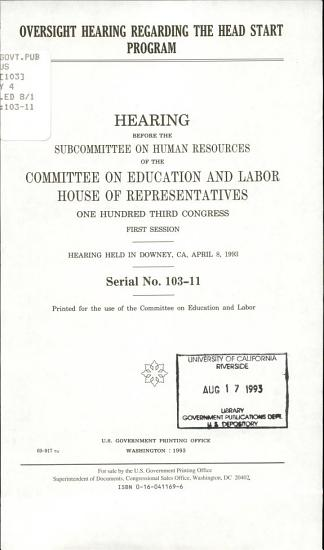 Oversight Hearing Regarding the Head Start Program PDF