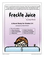 FRECKLE JUICE NOVEL STUDY Gr  2 4 PDF