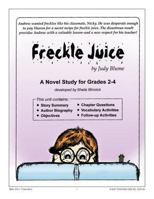FRECKLE JUICE NOVEL STUDY Gr  2 4