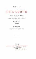 Oeuvres compl  tes de Stendhal  De l amour  2 v PDF