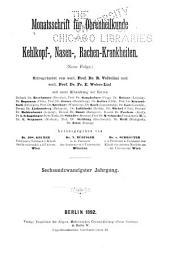 Monatsschrift für Ohrenheilkunde und Laryngo-Rhinologie: Band 26