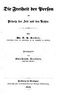 Die Freiheit der Person als Princip der Zeit und des Rechts PDF
