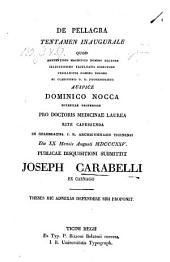 De Pellagra. Diss. inaug. med. - Ticini regii, Bizzoni (1825).