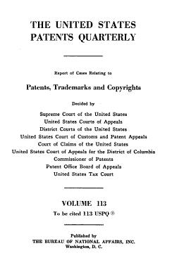 The United States Patents Quarterly PDF