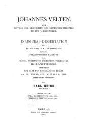Johannes Velten: Ein Beitrag zur Geschichte des deutschen Theaters im XVII. Jahrhundert ...
