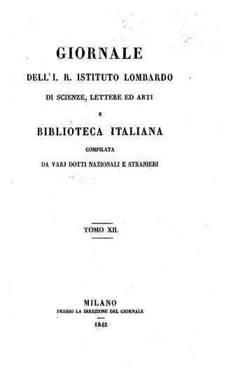 Giornale dell  IR istituto lombardo di scienze  lettere ed arti e biblioteca italiano PDF