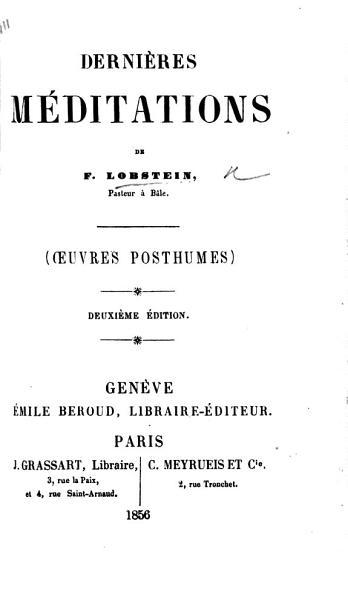 Download Derni  res M  ditations         uvres posthumes   Deuxi  me   dition Book