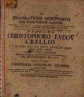 De translatione mortuorum per territorium alienum: ad Leg. III § 4 D. de sepulchro violato
