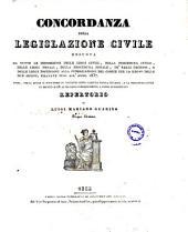 Concordanza della legislazione civile desunta da tutte le disposizioni delle leggi civili ... repertorio di Luigi Mariano Guarino