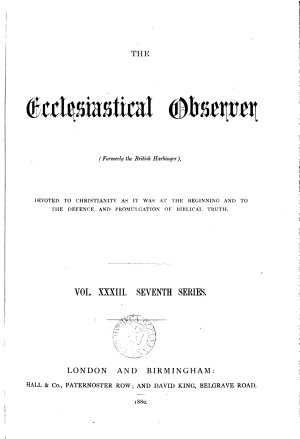 THE Ecclesiastical Observer PDF