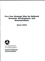 Five year Strategic Plan for Railroad Research  Development  and Demonstrations PDF