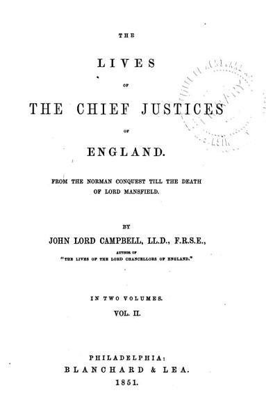 Download The Lives of the Chief Justices of England Book