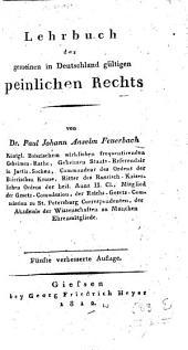Lehrbuch des gemeinen in Deutschland gültigen peinlichen Rechts
