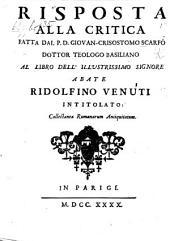 Risposta alla critica fatta dal P. D. G. C. Scarfo ... al libro dell'illustrissimo signore R. Venuti intitolato collectanea Romanarum Antiquitatum