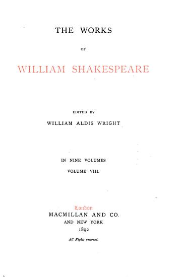 The Works of William Shakespeare  Preface to the first edition  King Lear  Othello  Antony and Cleopatra  Cymbeline  Addenda PDF