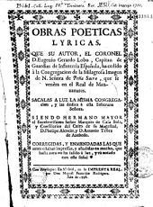 Obras poeticas lyricas que su autor... Ha cedido a la Congregacion de la Milagrosa Imagen de N. Senora de Pena Sacra que se venera en el Real de Manzanares