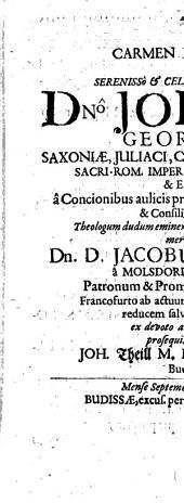 Carmen Epibaterium, quo Jacob. Weller a Molsdorff-Francofurto ab actuum imper. celebratione reducem veneratur J. Theill