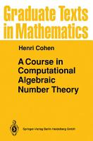 A Course in Computational Algebraic Number Theory PDF