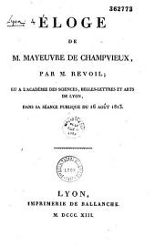 Eloge de M. Mayeuvre de Champvieux