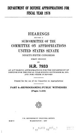 Department of Defense Appropriations for Fiscal Year 1978 PDF