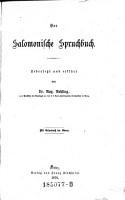 Das Salomonische Spruchbuch PDF