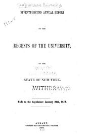 Annual Report of the Regents of the University, to the Legislature of the State of New-York: Volume 72