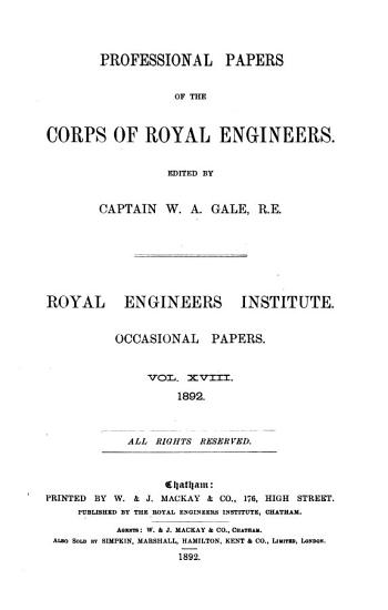 Professional Papers of the Corps of Royal Engineers PDF