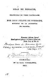 Odas de Horacio, traducidas en verso Castellano por ... F. de Sobrado