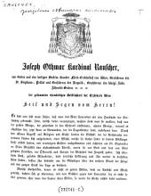 Der gesammten ehrwürdigen Geistlichkeit der Erzdiöcese Wien Heil und Segen vom Herrn! (8. Oct. 1867.)