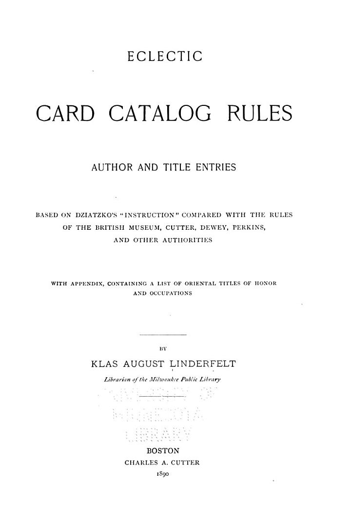 Eclectic Card Catalog Rules