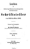Lexikon der Schleswig Holstein Lauenburgischen und Eutinischen Schriftsteller von 1829 bis Mitte 1866 PDF