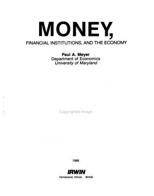Money  Financial Institutions  and the Economy PDF