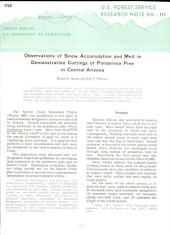 Observations of snow accumulation and melt in demonstration cuttings of ponderosa pine in central Arizona