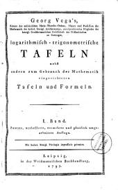 Georgii Vega ... Tabulae logarithmico-trigonometricae