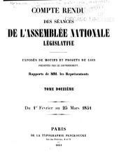 Compte rendu des séances de l'Assemblée nationale: Volume12