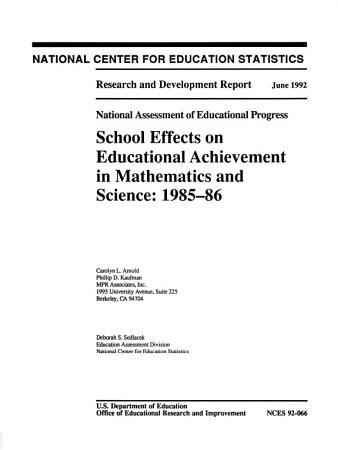 School Effects on Educational Achievement in Mathematics and Science  1985 86 PDF