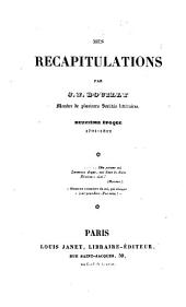 Mes récapitulations: Volume 1