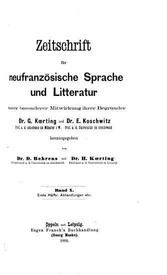 Zeitschrift f  r franz  sische Sprache und Litteratur PDF