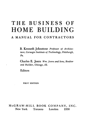 The Business of Home Building PDF