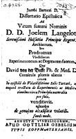 Jacobi Barneri Dissertatio epistolica ad     Joelem Langelot     seu prodromus vindiciarum experimentorum  ac dogmatum suorum  qu   David von der Becke     pro suis venditavit  etc PDF