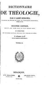 Dictionnaire de théologie. [With] Plan de la théologie par ordre de matières, suivant lequel il est à propos de lire le dictionnaire théologique