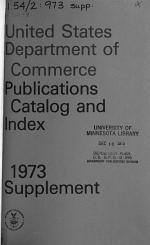 The United States Department of Commerce Publications, Catalog and Index Supplement