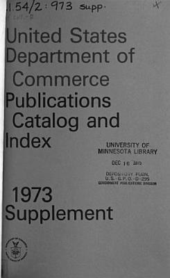 The United States Department of Commerce Publications  Catalog and Index Supplement