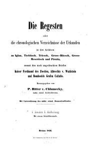 Die Regesten der Archive im Markgrafthume M  hren  und Anton Boczck s Berichte   ber die Forschungen in diesem Lande PDF